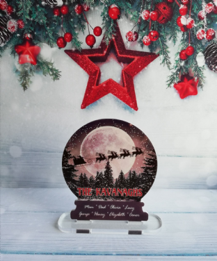 Our Family Christmas Moon Snow Globe Standing Plaque